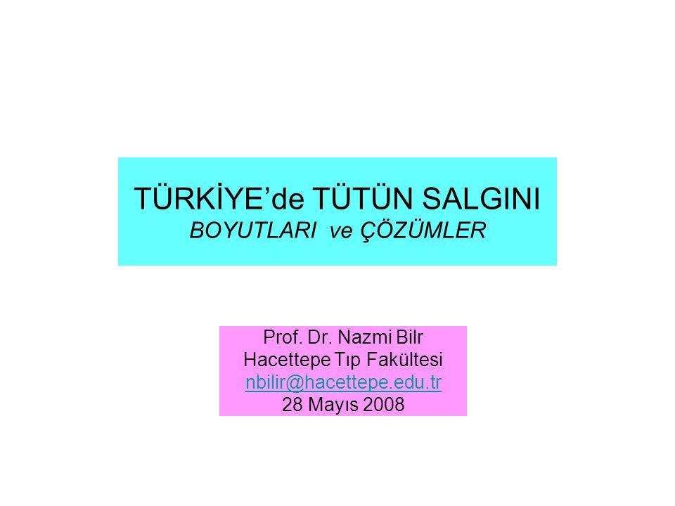 TÜRKİYE'de TÜTÜN SALGINI BOYUTLARI ve ÇÖZÜMLER Prof. Dr. Nazmi Bilr Hacettepe Tıp Fakültesi nbilir@hacettepe.edu.tr 28 Mayıs 2008