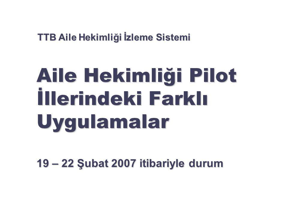 Aile Hekimliği Pilot İllerindeki Farklı Uygulamalar 19 – 22 Şubat 2007 itibariyle durum TTB Aile Hekimliği İzleme Sistemi