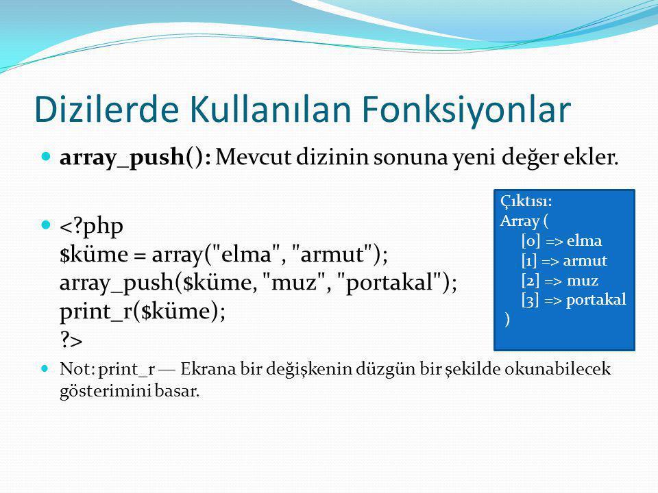 Dizilerde Kullanılan Fonksiyonlar array_push(): Mevcut dizinin sonuna yeni değer ekler.