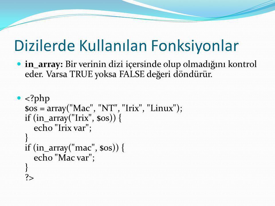 Dizilerde Kullanılan Fonksiyonlar in_array: Bir verinin dizi içersinde olup olmadığını kontrol eder.