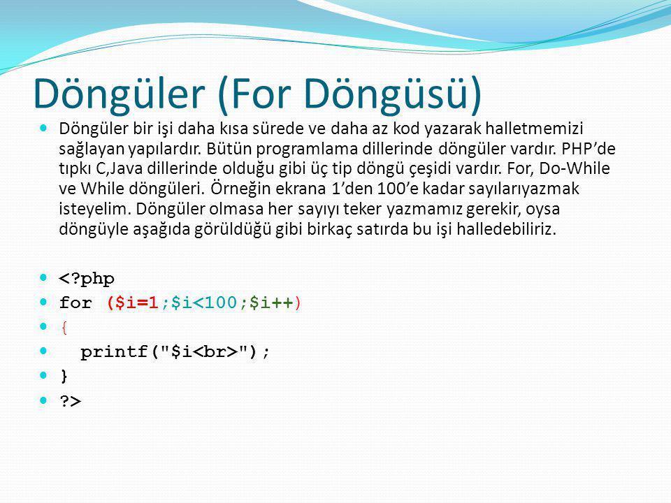 Döngüler (For Döngüsü) Döngüler bir işi daha kısa sürede ve daha az kod yazarak halletmemizi sağlayan yapılardır. Bütün programlama dillerinde döngüle