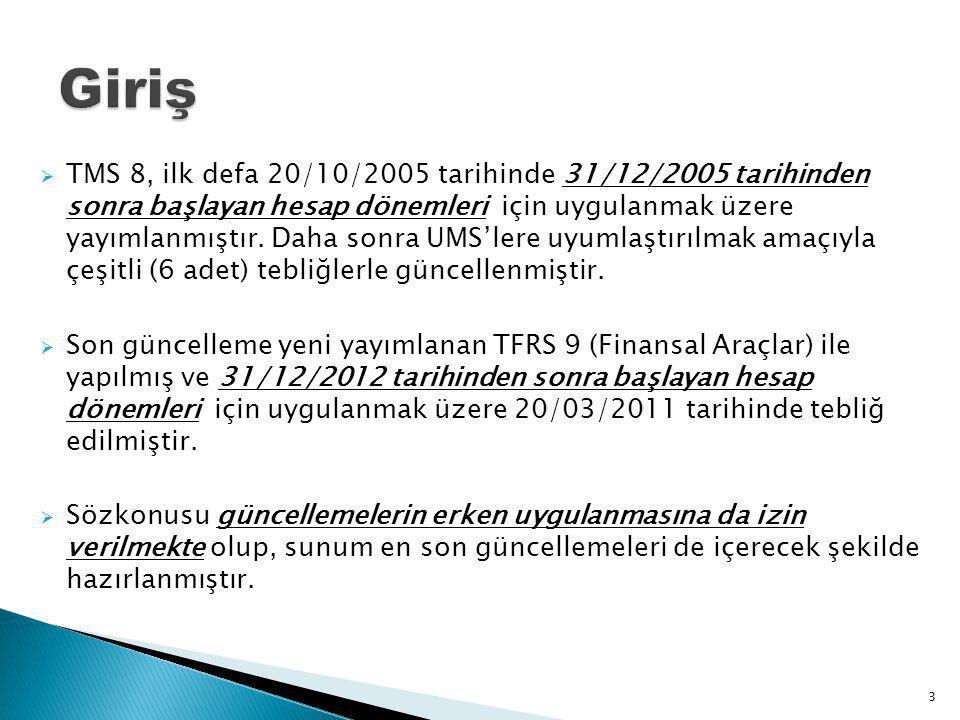  TMS 8, ilk defa 20/10/2005 tarihinde 31/12/2005 tarihinden sonra başlayan hesap dönemleri için uygulanmak üzere yayımlanmıştır. Daha sonra UMS'lere