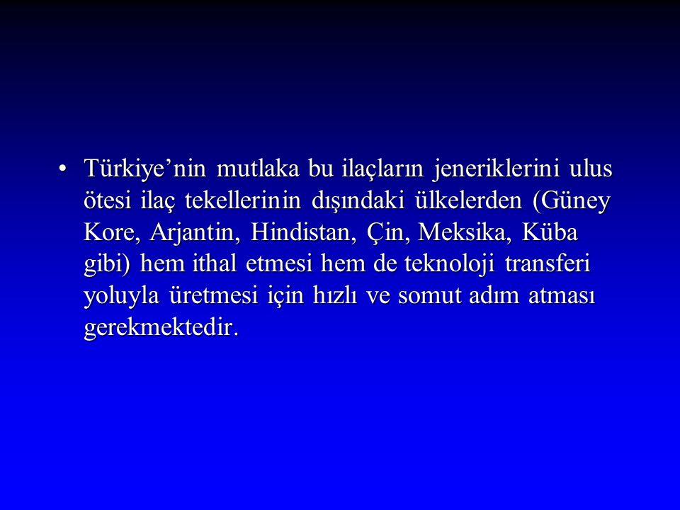 Türkiye'nin mutlaka bu ilaçların jeneriklerini ulus ötesi ilaç tekellerinin dışındaki ülkelerden (Güney Kore, Arjantin, Hindistan, Çin, Meksika, Küba