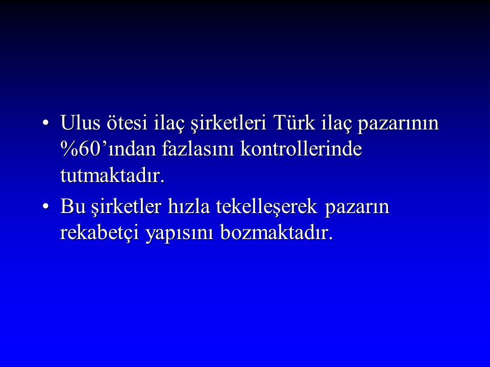 Ulus ötesi ilaç şirketleri Türk ilaç pazarının %60'ından fazlasını kontrollerinde tutmaktadır.Ulus ötesi ilaç şirketleri Türk ilaç pazarının %60'ından
