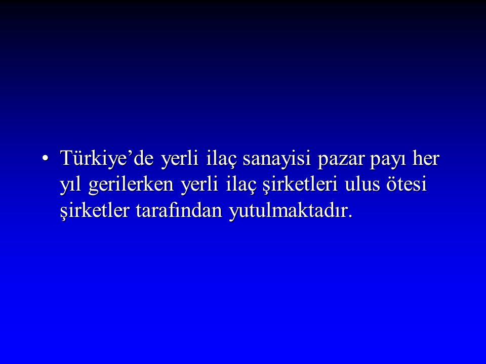 Türkiye'de yerli ilaç sanayisi pazar payı her yıl gerilerken yerli ilaç şirketleri ulus ötesi şirketler tarafından yutulmaktadır.Türkiye'de yerli ilaç