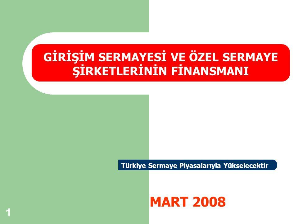1 MART 2008 GİRİŞİM SERMAYESİ VE ÖZEL SERMAYE ŞİRKETLERİNİN FİNANSMANI Türkiye Sermaye Piyasalarıyla Yükselecektir