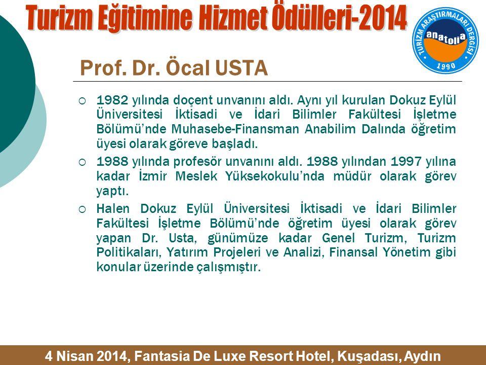 Prof. Dr. Öcal USTA  1982 yılında doçent unvanını aldı.