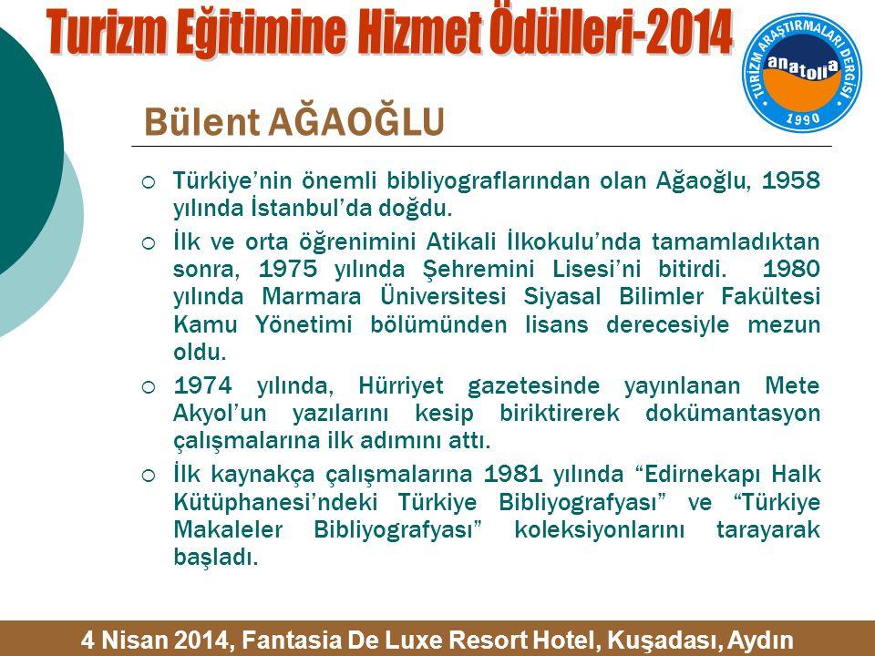 Bülent AĞAOĞLU  Türkiye'nin önemli bibliyograflarından olan Ağaoğlu, 1958 yılında İstanbul'da doğdu.