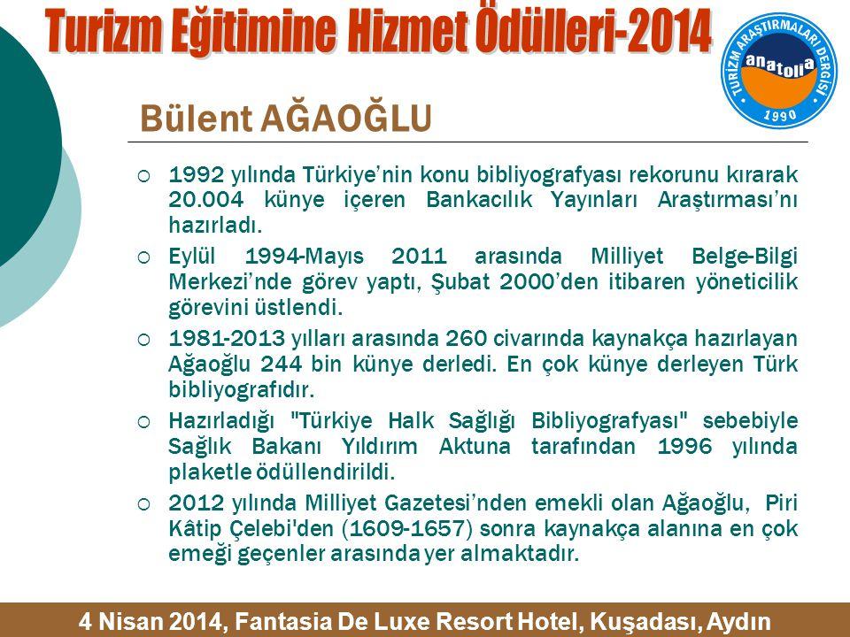 Bülent AĞAOĞLU  1992 yılında Türkiye'nin konu bibliyografyası rekorunu kırarak 20.004 künye içeren Bankacılık Yayınları Araştırması'nı hazırladı.