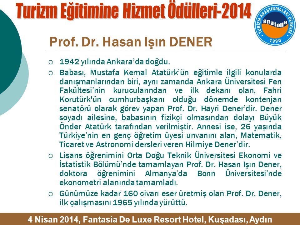 Prof. Dr. Hasan Işın DENER  1942 yılında Ankara'da doğdu.
