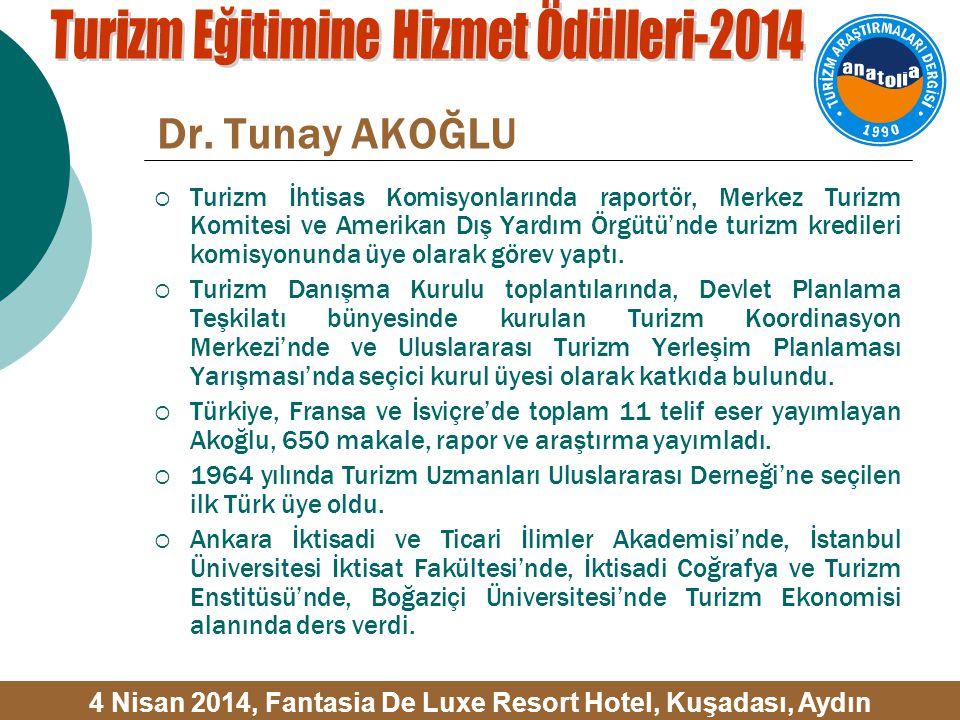 Dr. Tunay AKOĞLU  Turizm İhtisas Komisyonlarında raportör, Merkez Turizm Komitesi ve Amerikan Dış Yardım Örgütü'nde turizm kredileri komisyonunda üye