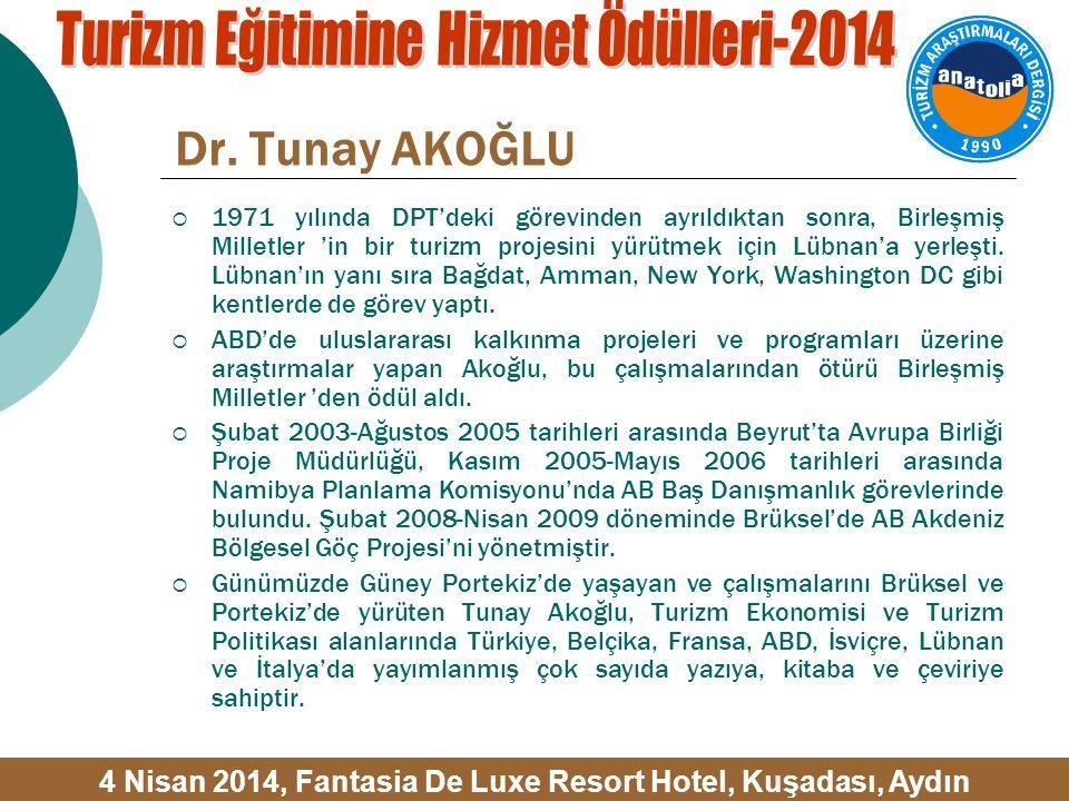 Dr. Tunay AKOĞLU  1971 yılında DPT'deki görevinden ayrıldıktan sonra, Birleşmiş Milletler 'in bir turizm projesini yürütmek için Lübnan'a yerleşti. L
