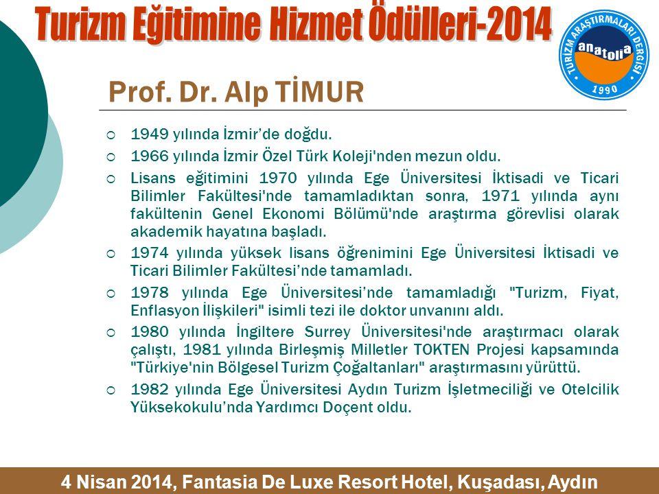 Prof. Dr. Alp TİMUR  1949 yılında İzmir'de doğdu.