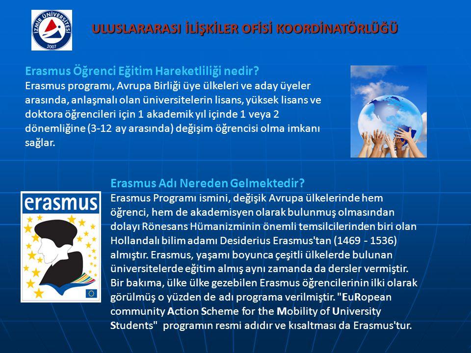 ULUSLARARASI İLİŞKİLER OFİSİ KOORDİNATÖRLÜĞÜ Erasmus Öğrenci Eğitim Hareketliliği nedir? Erasmus programı, Avrupa Birliği üye ülkeleri ve aday üyeler