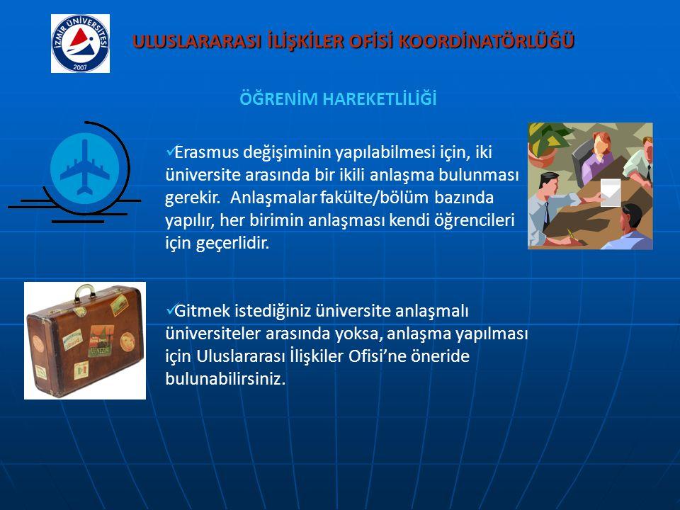 Erasmus değişiminin yapılabilmesi için, iki üniversite arasında bir ikili anlaşma bulunması gerekir. Anlaşmalar fakülte/bölüm bazında yapılır, her bir
