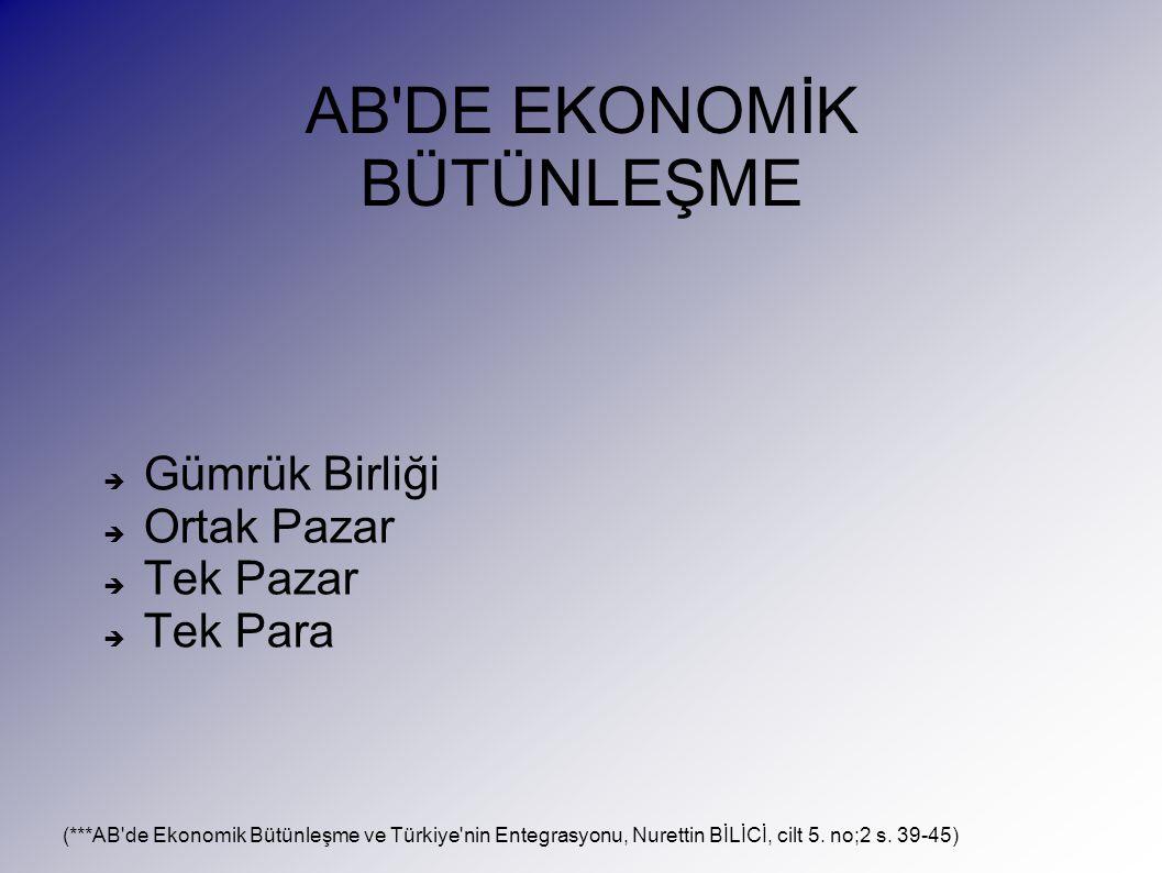 AB DE EKONOMİK BÜTÜNLEŞME  Gümrük Birliği  Ortak Pazar  Tek Pazar  Tek Para (***AB de Ekonomik Bütünleşme ve Türkiye nin Entegrasyonu, Nurettin BİLİCİ, cilt 5.