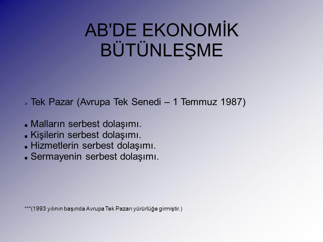 AB DE EKONOMİK BÜTÜNLEŞME  Tek Pazar (Avrupa Tek Senedi – 1 Temmuz 1987) Malların serbest dolaşımı.
