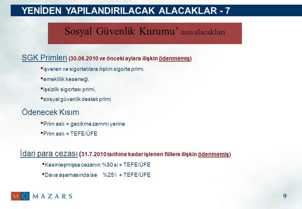 YENİDEN YAPILANDIRILACAK ALACAKLAR - 7 SGK Primleri (30.06.2010 ve önceki aylara ilişkin ödenmemiş) işveren ve sigortalılara ilişkin sigorta primi, em