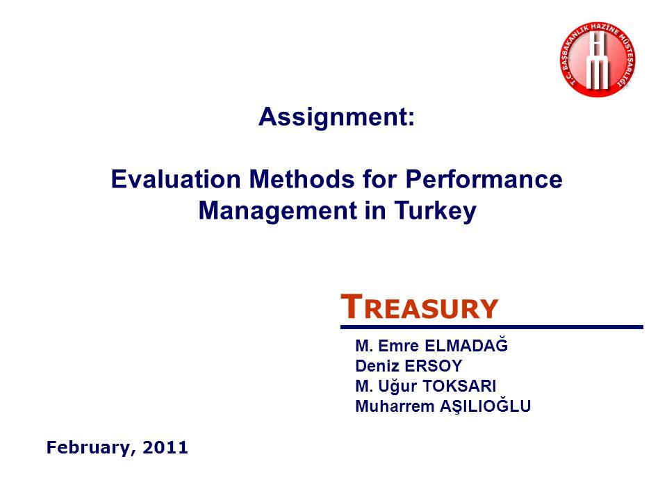 Performans Değerlendirmesi Performance Evaluation Kamu idarelerinin belirledikleri stratejik amaç ve hedeflere ulaşmak için izledikleri yolun, performans hedeflerine ulaşmak üzere kullanılan yöntemler ile yürütülen faaliyet ve projelerin ve bunların sonucunda elde edilen çıktı ve sonuçların değerlendirilmesidir. Stratejik Amaç ve Hedefler Strategic Goals & Objectives Performans Hedefleri Performance Objectives Misyon – Vizyon (Mission – Vision) Faaliyetler ve Projeler (Actions and Projects) Evaluating the process and methods to reach the pre-set strategic goals & objectives , performance objectives , and actions & projects by the public administrations and finally evaluating the output and outcome .