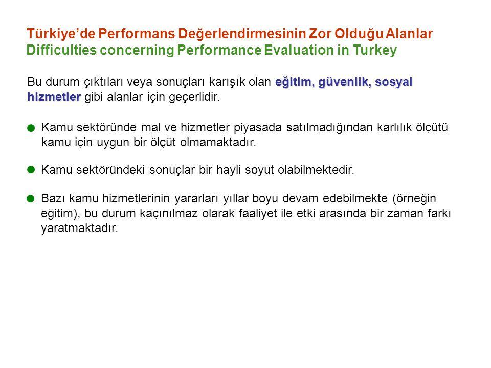 Türkiye'de Performans Değerlendirmesinin Zor Olduğu Alanlar Difficulties concerning Performance Evaluation in Turkey Kamu sektöründe mal ve hizmetler