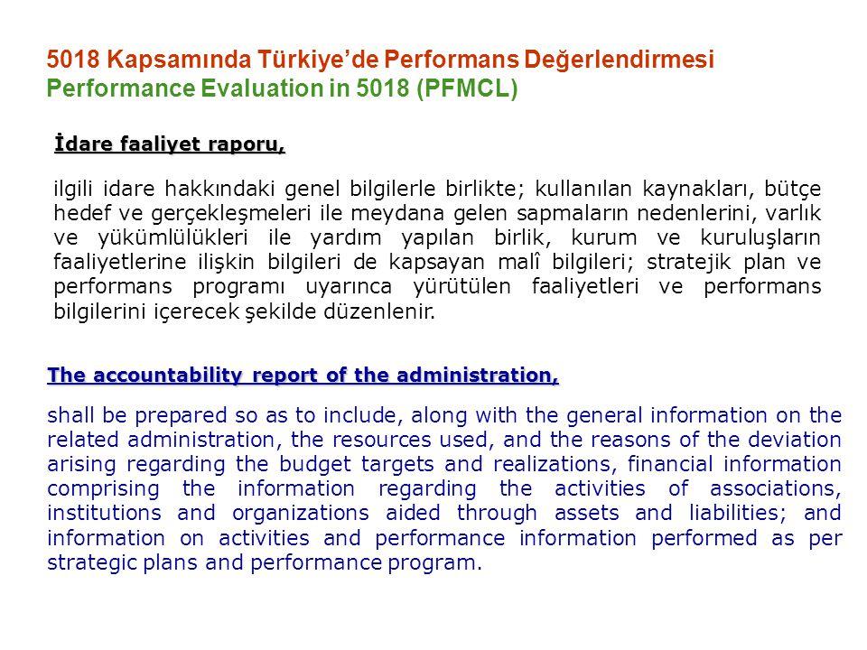 5018 Kapsamında Türkiye'de Performans Değerlendirmesi Performance Evaluation in 5018 (PFMCL) Bu tasarı, idarenin bir yıllık uygulama sonuçlarını karşılaştırmalı olarak gösteren değerlendirmeleri içeren gerekçesiyle birlikte sunulur The Draft Law together with the statement of reasons including the comparative assessments on yearly implementations.