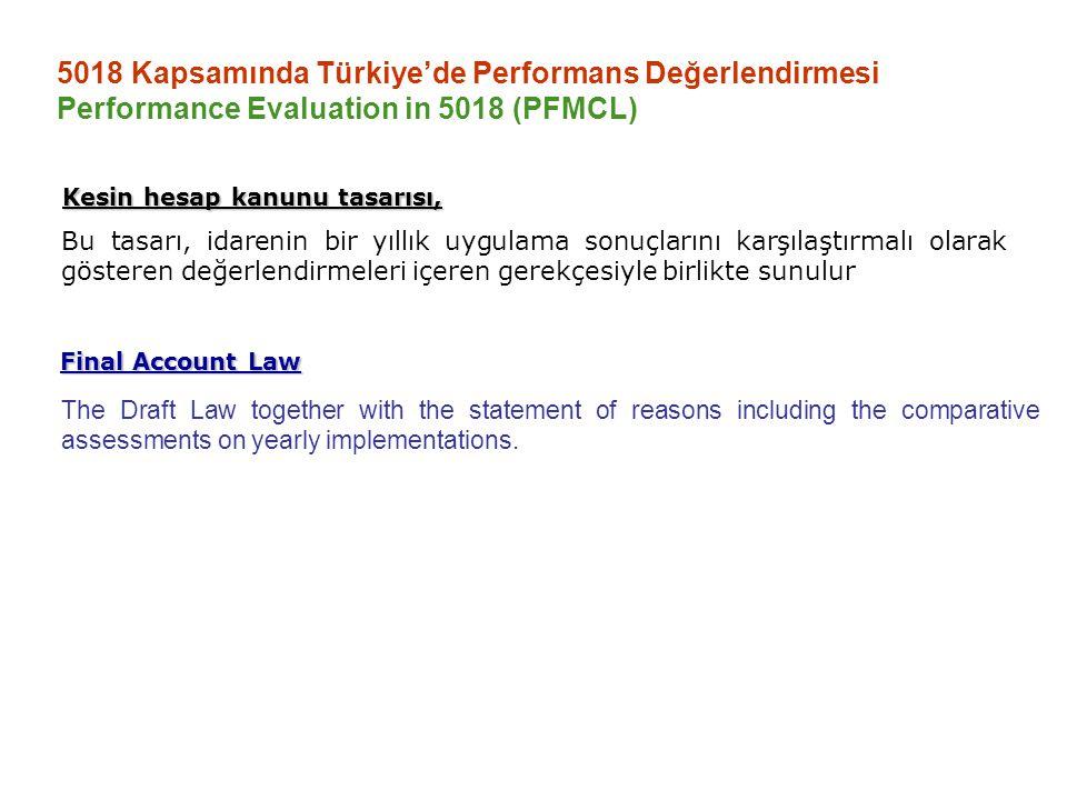 5018 Kapsamında Türkiye'de Performans Değerlendirmesi Performance Evaluation in 5018 (PFMCL) Bu tasarı, idarenin bir yıllık uygulama sonuçlarını karşı