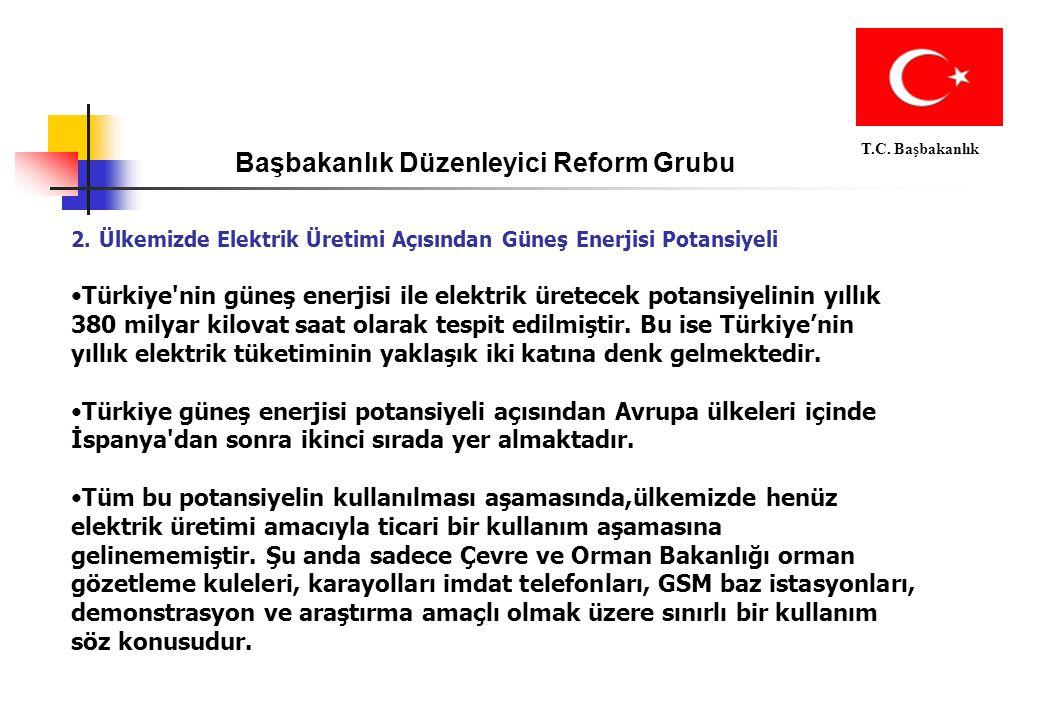Başbakanlık Düzenleyici Reform Grubu T.C. Başbakanlık 2. Ülkemizde Elektrik Üretimi Açısından Güneş Enerjisi Potansiyeli Türkiye'nin güneş enerjisi il