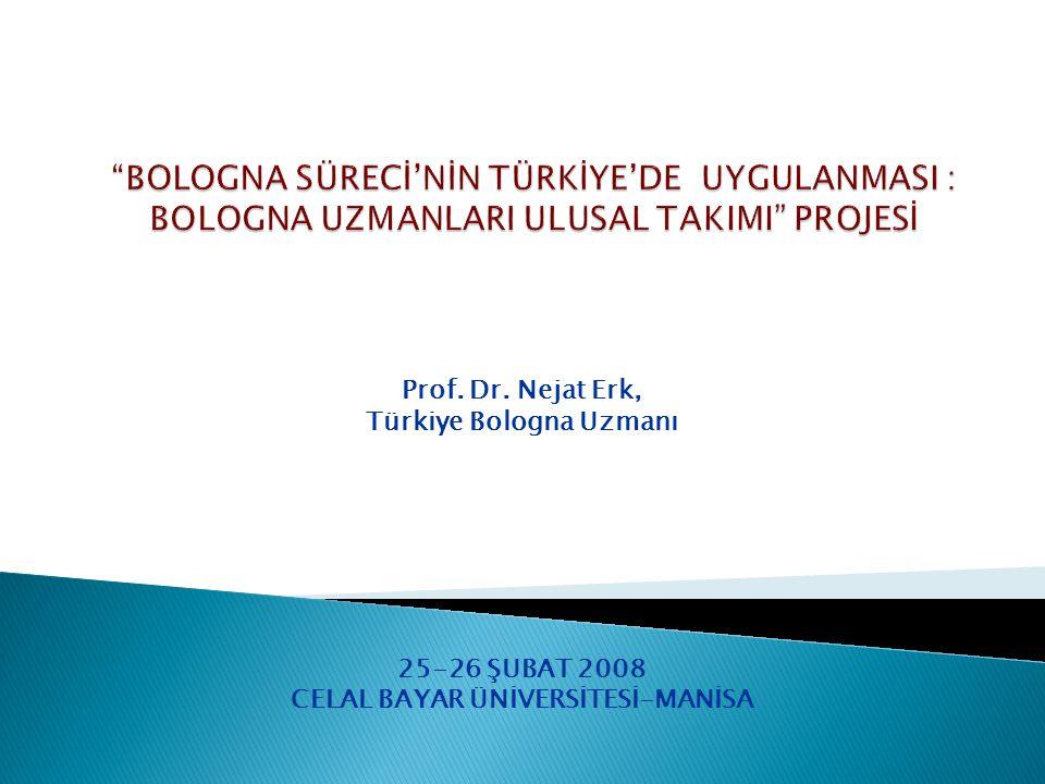 Prof. Dr. Nejat Erk, Türkiye Bologna Uzmanı 25-26 ŞUBAT 2008 CELAL BAYAR ÜNİVERSİTESİ-MANİSA