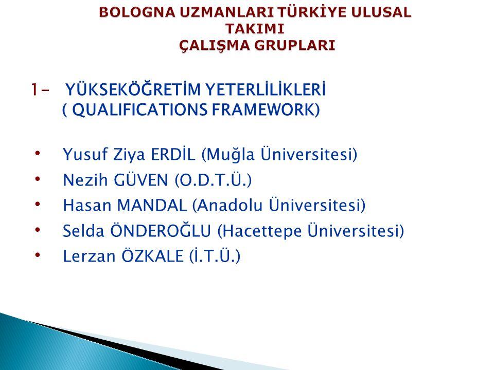 1- YÜKSEKÖĞRETİM YETERLİLİKLERİ ( QUALIFICATIONS FRAMEWORK) Yusuf Ziya ERDİL (Muğla Üniversitesi) Nezih GÜVEN (O.D.T.Ü.) Hasan MANDAL (Anadolu Üniversitesi) Selda ÖNDEROĞLU (Hacettepe Üniversitesi) Lerzan ÖZKALE (İ.T.Ü.)