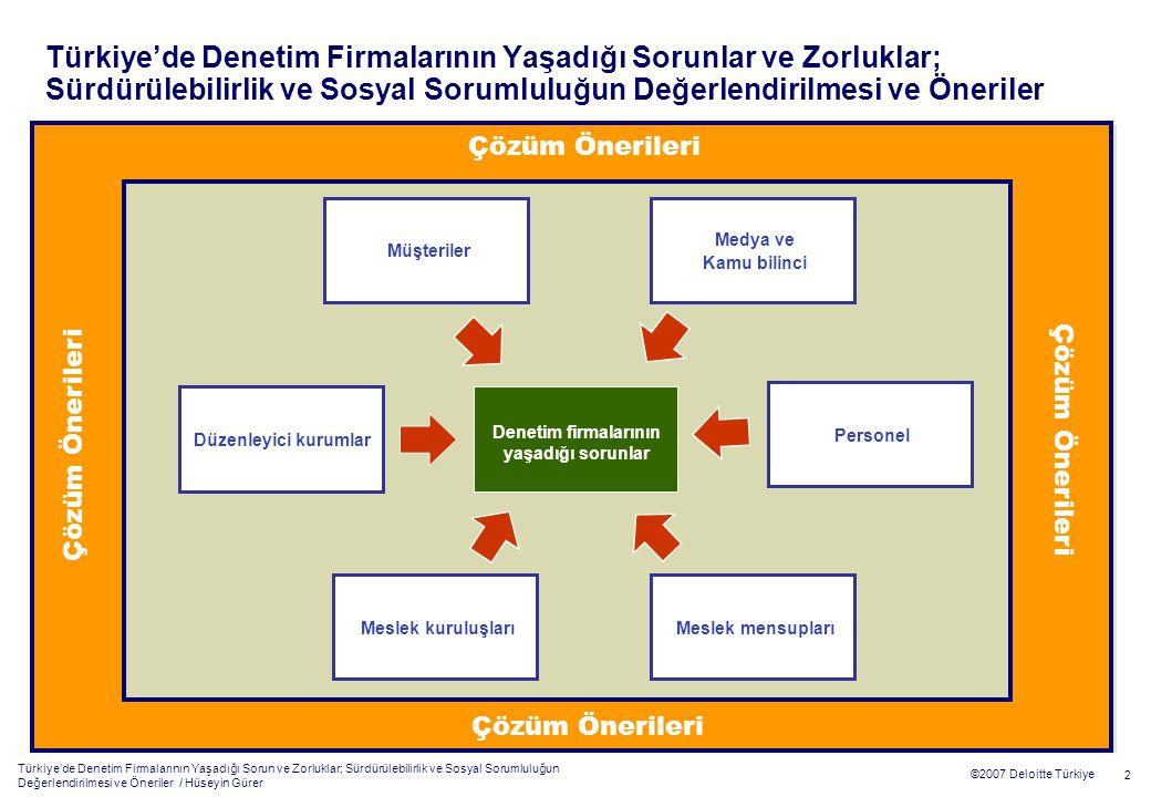 Türkiye'de Denetim Firmalarının Yaşadığı Sorun ve Zorluklar; Sürdürülebilirlik ve Sosyal Sorumluluğun Değerlendirilmesi ve Öneriler / Hüseyin Gürer 2