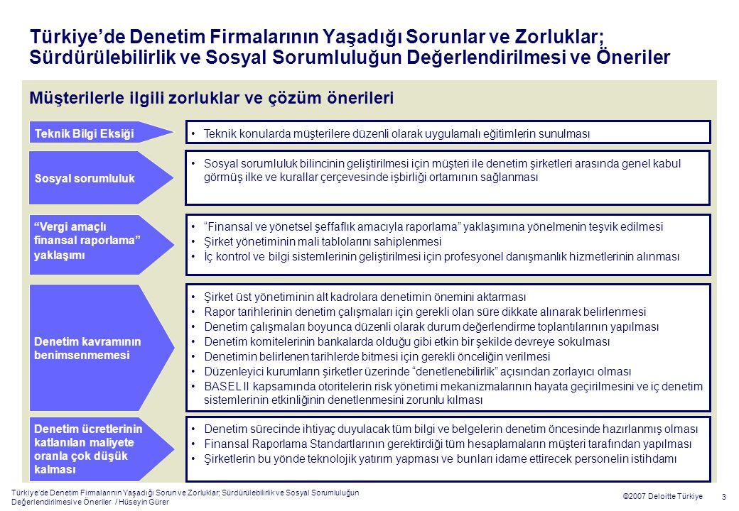 Türkiye'de Denetim Firmalarının Yaşadığı Sorun ve Zorluklar; Sürdürülebilirlik ve Sosyal Sorumluluğun Değerlendirilmesi ve Öneriler / Hüseyin Gürer 3