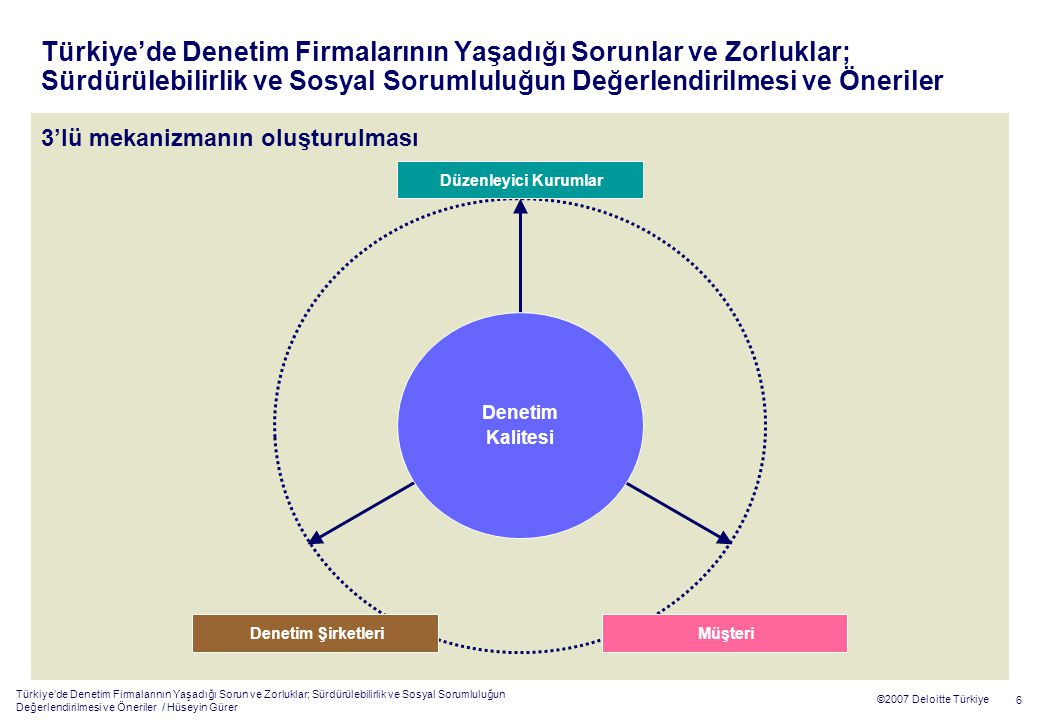 Türkiye'de Denetim Firmalarının Yaşadığı Sorun ve Zorluklar; Sürdürülebilirlik ve Sosyal Sorumluluğun Değerlendirilmesi ve Öneriler / Hüseyin Gürer 6