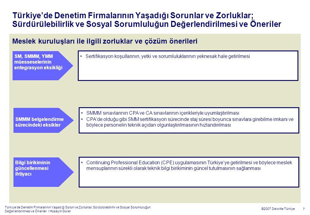 Türkiye'de Denetim Firmalarının Yaşadığı Sorun ve Zorluklar; Sürdürülebilirlik ve Sosyal Sorumluluğun Değerlendirilmesi ve Öneriler / Hüseyin Gürer 7