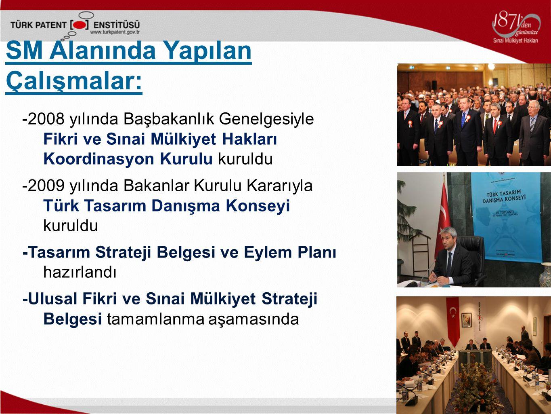 -2008 yılında Başbakanlık Genelgesiyle Fikri ve Sınai Mülkiyet Hakları Koordinasyon Kurulu kuruldu -2009 yılında Bakanlar Kurulu Kararıyla Türk Tasarım Danışma Konseyi kuruldu -Tasarım Strateji Belgesi ve Eylem Planı hazırlandı -Ulusal Fikri ve Sınai Mülkiyet Strateji Belgesi tamamlanma aşamasında SM Alanında Yapılan Çalışmalar: