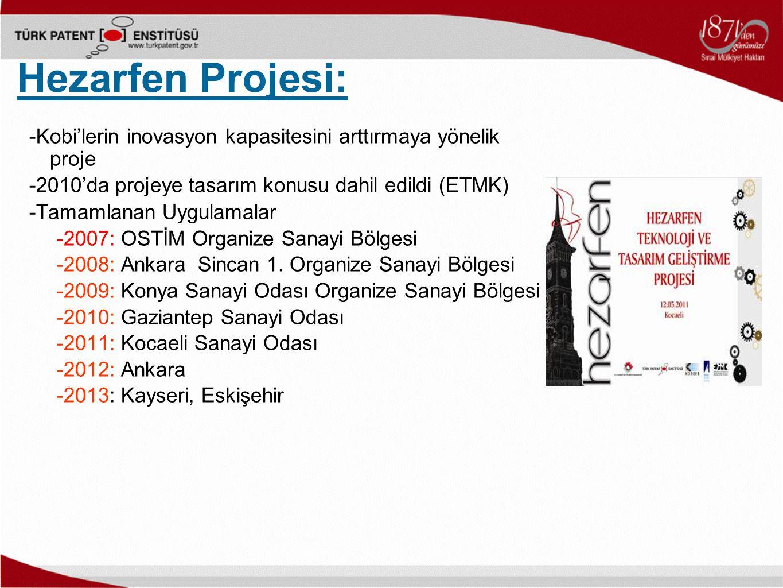 Hezarfen Projesi: -Kobi'lerin inovasyon kapasitesini arttırmaya yönelik proje -2010'da projeye tasarım konusu dahil edildi (ETMK) -Tamamlanan Uygulama