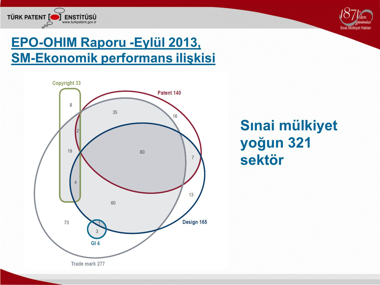 EPO-OHIM Raporu -Eylül 2013, SM-Ekonomik performans ilişkisi Sınai mülkiyet yoğun 321 sektör