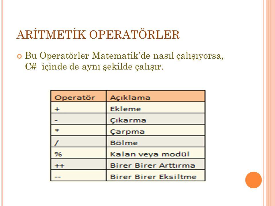 ARİTMETİK OPERATÖRLER Bu Operatörler Matematik'de nasıl çalışıyorsa, C# içinde de aynı şekilde çalışır.