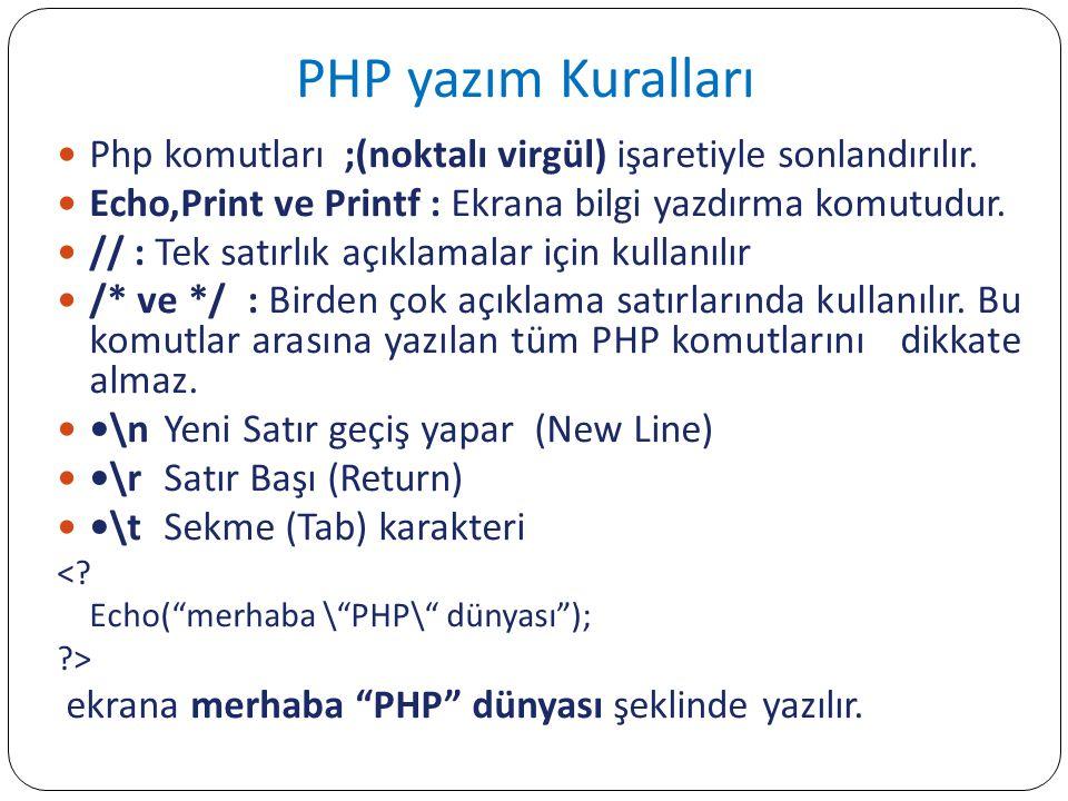 PHP yazım Kuralları Php komutları ;(noktalı virgül) işaretiyle sonlandırılır. Echo,Print ve Printf : Ekrana bilgi yazdırma komutudur. // : Tek satırlı