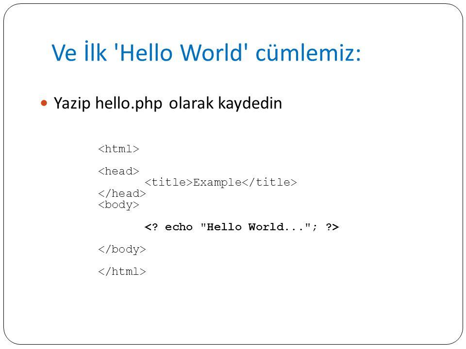 Ve İlk 'Hello World' cümlemiz: Yazip hello.php olarak kaydedin Example