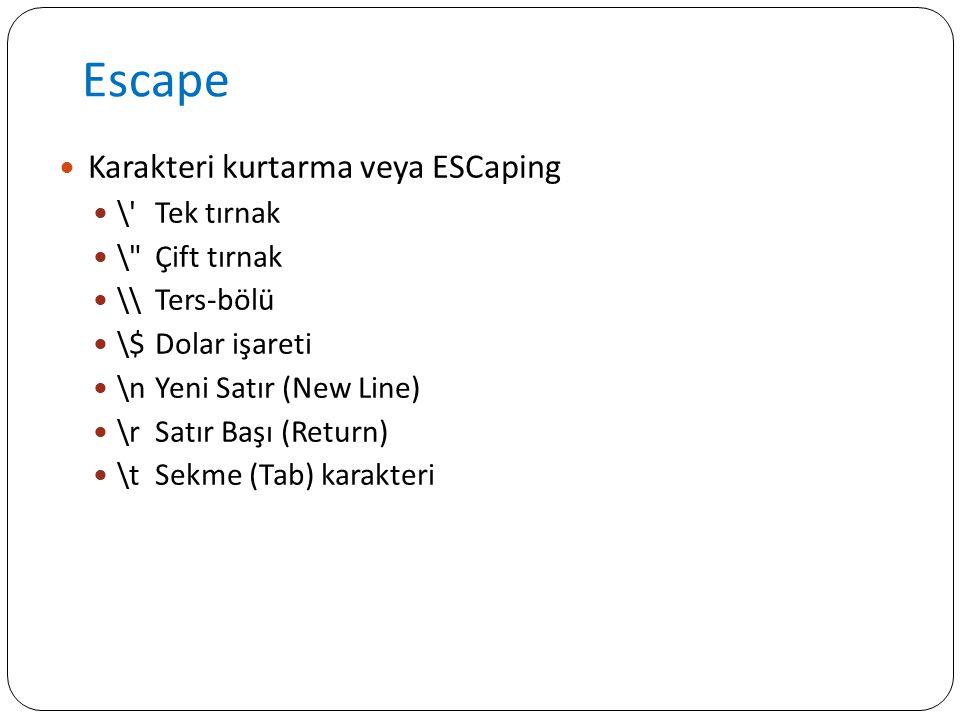 Escape Karakteri kurtarma veya ESCaping \'Tek tırnak \