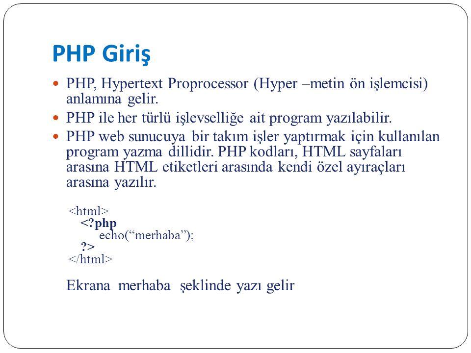 PHP Giriş PHP, Hypertext Proprocessor (Hyper –metin ön işlemcisi) anlamına gelir. PHP ile her türlü işlevselliğe ait program yazılabilir. PHP web sunu