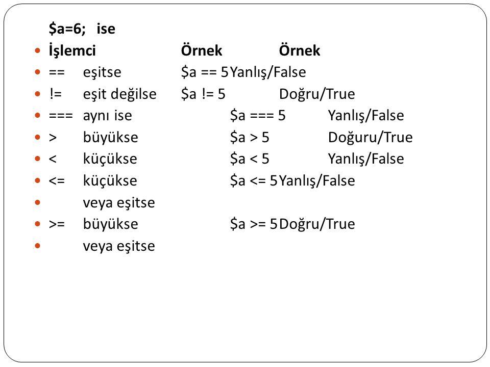 $a=6; ise İşlemciÖrnekÖrnek ==eşitse$a == 5Yanlış/False !=eşit değilse$a != 5Doğru/True ===aynı ise$a === 5Yanlış/False >büyükse$a > 5Doğuru/True <küç