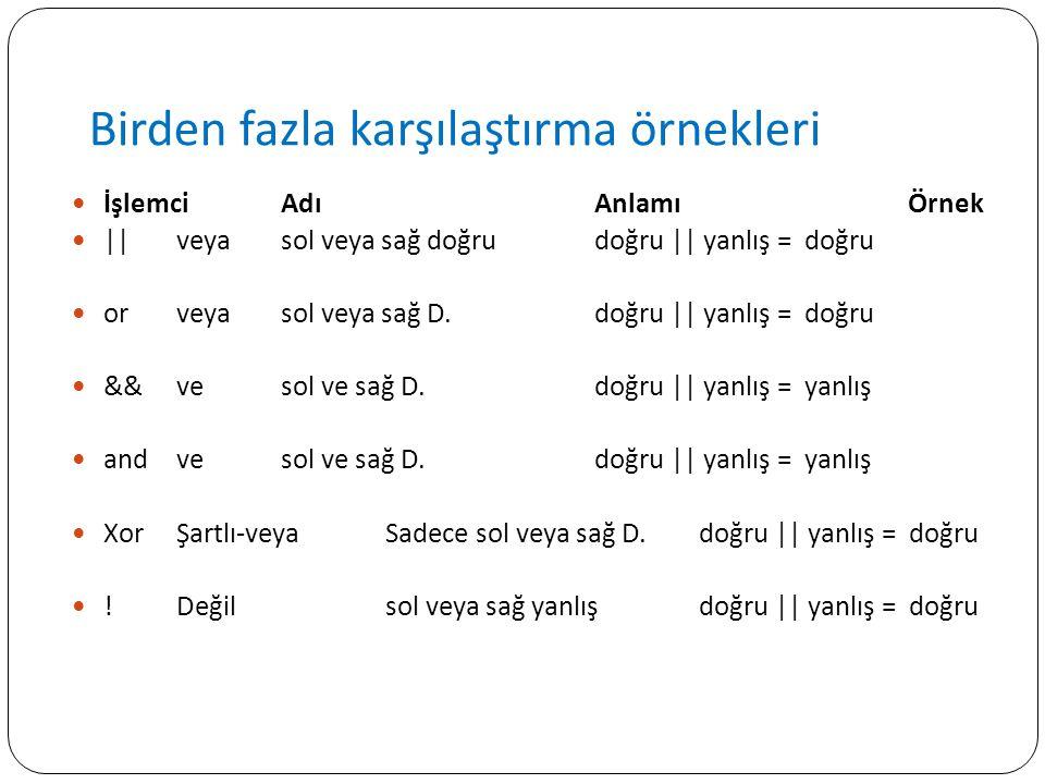 Birden fazla karşılaştırma örnekleri İşlemciAdıAnlamıÖrnek ||veyasol veya sağ doğru doğru || yanlış = doğru orveyasol veya sağ D. doğru || yanlış = do