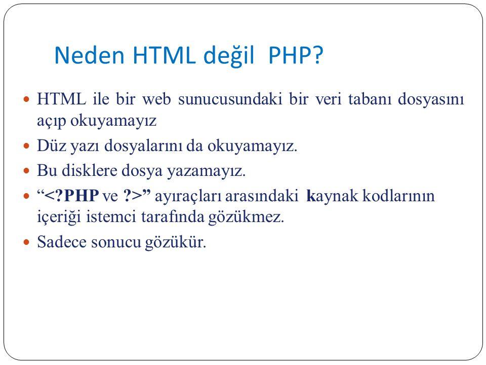 Neden HTML değil PHP? HTML ile bir web sunucusundaki bir veri tabanı dosyasını açıp okuyamayız Düz yazı dosyalarını da okuyamayız. Bu disklere dosya y