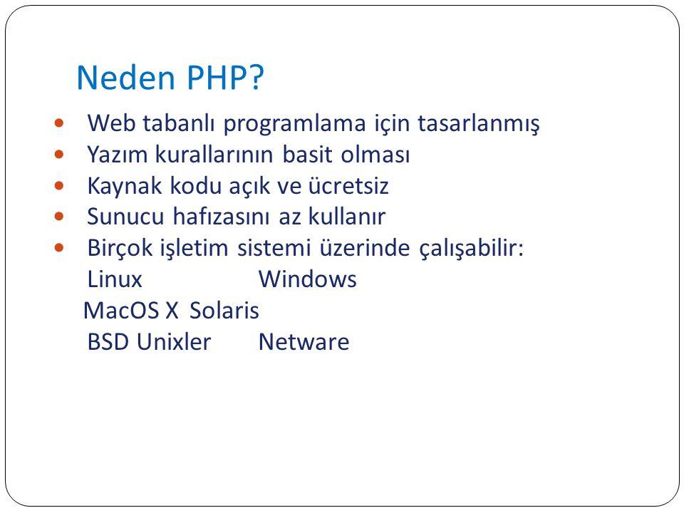 HTTP_ENV_VARSHTTP Sunucu programın çalışmakta olan PHP dosyası için oluşturduğu çevre değişkenlerinin yazılı olduğu dizi değişken.