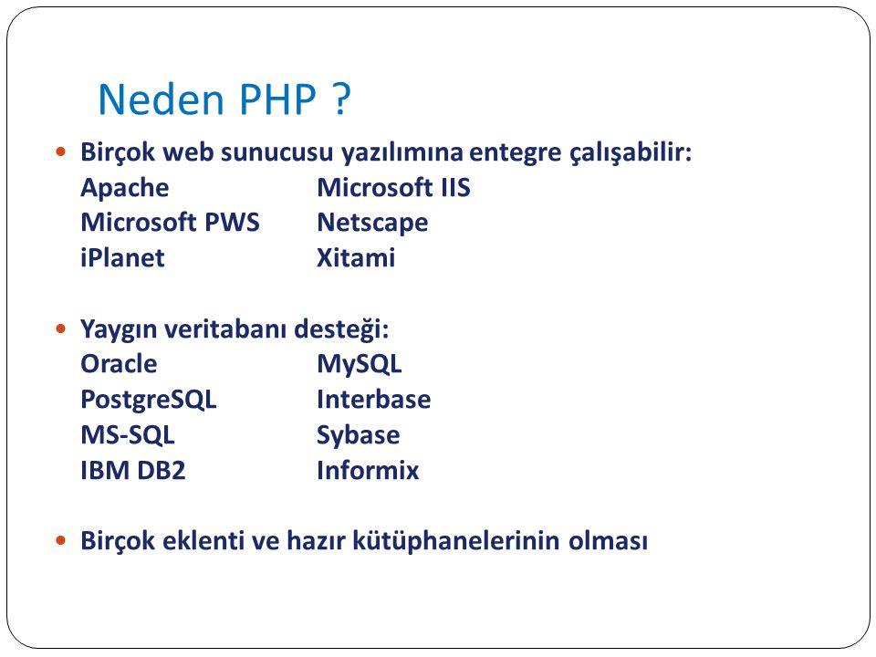 Kurulum http://huseyint.com/projeler/apache-php- mysql/index.html http://huseyint.com/projeler/apache-php- mysql/index.html PhpMyAdmin – MySQL için web arayüzzü