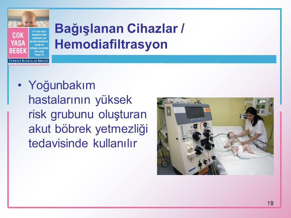 19 Bağışlanan Cihazlar / Hemodiafiltrasyon Yoğunbakım hastalarının yüksek risk grubunu oluşturan akut böbrek yetmezliği tedavisinde kullanılır