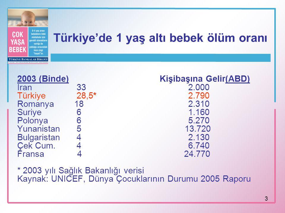 3 Türkiye'de 1 yaş altı bebek ölüm oranı 2003 (Binde)Kişibaşına Gelir(ABD) İran 33 2.000 Türkiye 28,5* 2.790 Romanya 182.310 Suriye 6 1.160 Polonya 65