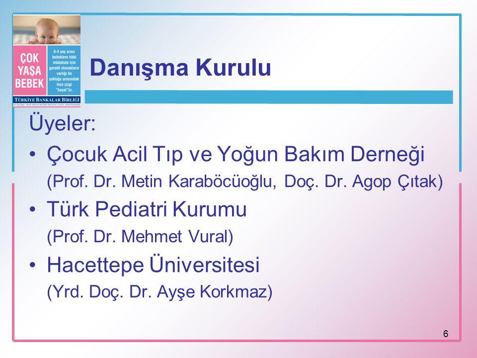 6 Danışma Kurulu Üyeler: Çocuk Acil Tıp ve Yoğun Bakım Derneği (Prof. Dr. Metin Karaböcüoğlu, Doç. Dr. Agop Çıtak) Türk Pediatri Kurumu (Prof. Dr. Meh