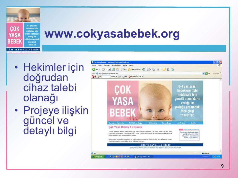 9 www.cokyasabebek.org Hekimler için doğrudan cihaz talebi olanağı Projeye ilişkin güncel ve detaylı bilgi